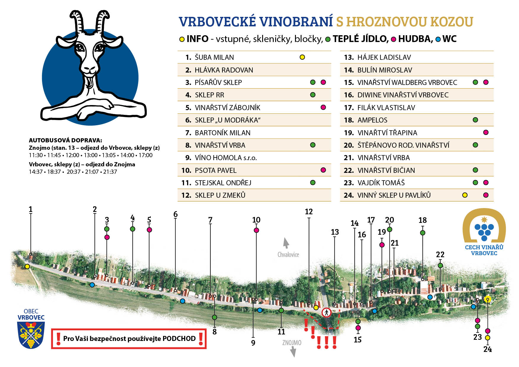 Mapa vinobraní 2019